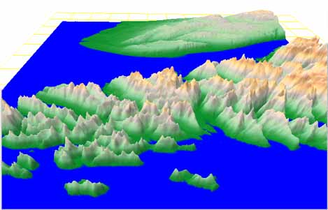 Generated exaggerated relief of real islands in Alaska.