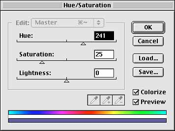Hue Saturation Dialog Box