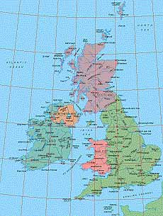 British Isles Physical Map Detailed EPS vector map